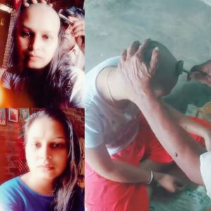 North Indian Girl Head Shave in Home to get rid of lice